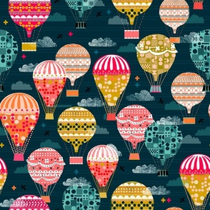 hot air balloons // retro vintage hot air balloons flying machines