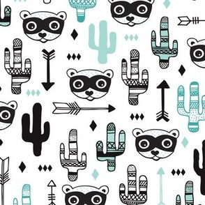 Fun Mint blue pastel raccoon cactus garden indian summer arrow geometric illustration pattern kids print