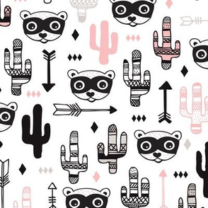 Fun pink raccoon cactus garden indian summer arrow geometric illustration pattern kids print
