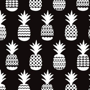 Fun black and white geometric pineapple fruit summer beach theme illustration pattern