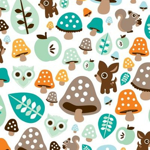 Super soft pastel baby boy fall woodland autumn animals deer owl and squirrel illustration pattern design