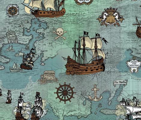 Pirate Ships Map Blue Big Repeat