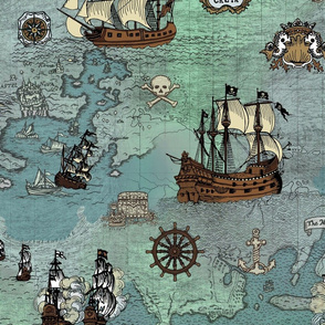 Pirate Ships Map Blue Big Repeat