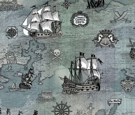 Pirate Ships Map Grey Big