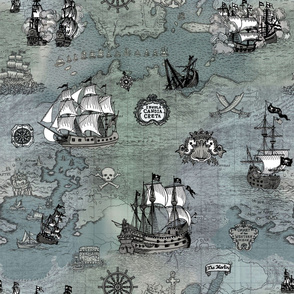 Pirate Ships Map Grey Big