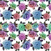 Geometric Galaxy Roses White Background
