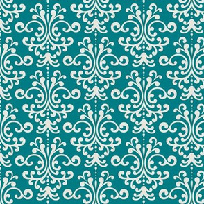 damask dark teal + off white
