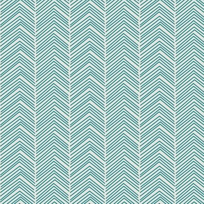 chevron ♥ dark teal + off white