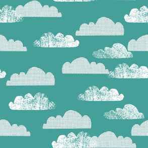 Clouds - Teal - Hot Air Balloon Coordinate by Andrea Lauren