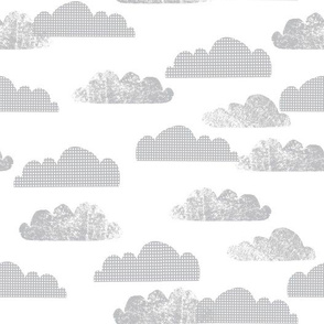 Clouds - Light Grey on White by Andrea Lauren