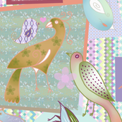 Bohemian Bird Collage - purples