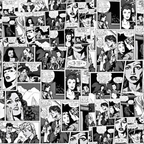 Comic collage in black and white