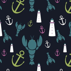 Maritime Icons - Lime and Pink on Navy