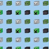 8 bit mine craft mob creeper heads