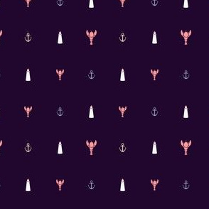 Maritime Icons in plum and coral