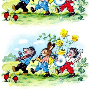 ladybirds ladybugs porcupines hedgehogs rabbits bunny violins trumpets drums cymbals flowers fields clouds vintage retro kitsch marching music bands