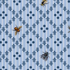 Vintage Busy Bees Blue Colours Large