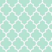 quatrefoil LG mint green