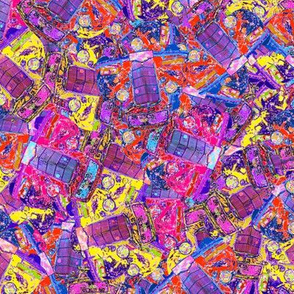SCATTERED CARS YELLOW PINK PURPLE