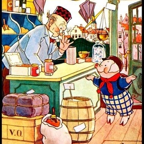 grocery groceries supermarkets shops towns pig piglets children bottles jars candy candies sweets scales barrels boxes containers vintage retro kitsch