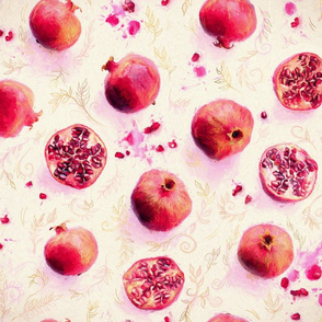 Painted Pomegranates with Gold Leaf Pattern