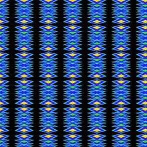 Tribal Blanket Blue Yellow Black