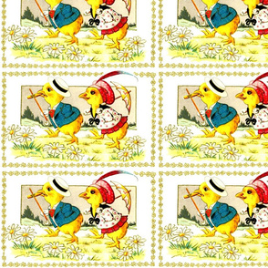 chicks chickens canes parasols daisy daisies flowers meadows fields trees vintage retro kitsch