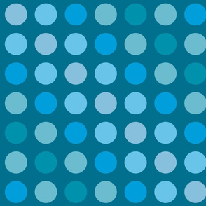 Large polka dots with blue hues.