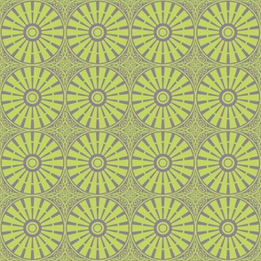 Breezy Windmill Wheel - Green on Gray