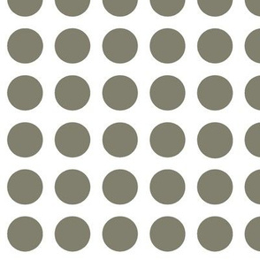Grey polka dots on a white background.