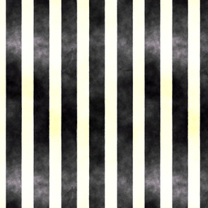 Watercolor Black and White Stripe