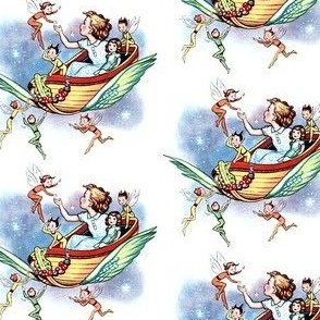 children toys elf elves fairies fairy tales pixies boats wings fantasy stars night vintage retro kitsch