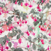 Rainbow Fuchsia Floral Pattern with Grey