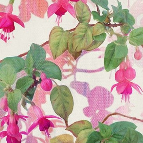 Rainbow Fuchsia Floral Painted Pattern Large Print