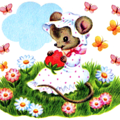 mouse mice rats flowers daisy daisies bonnets strawberry strawberries butterflies butterfly fields meadows clouds grass vintage retro kitsch