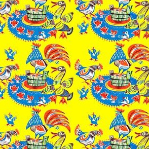 vintage retro kitsch folk art chickens roosters ducks ducklings goose geese buckets chicks birds