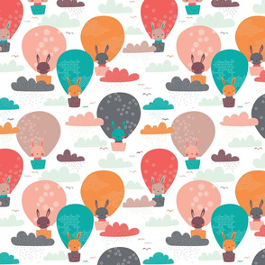 Bunnies in balloons // by petite_circus