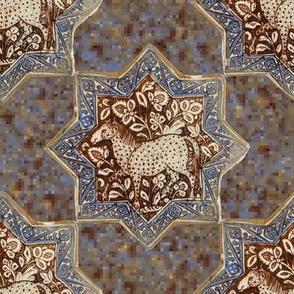 14th Century Kashan Horse Tile Mosaic