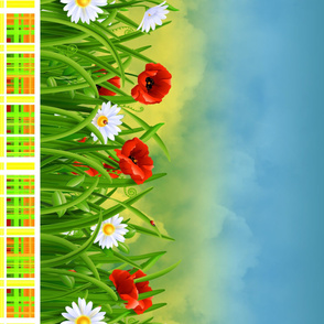 Poppies_and_Daisies_with_Grass_border_fabric_09