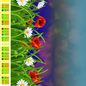 Poppies_and_Daisies_with_Grass_border_fabric_08