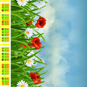 Poppies_and_Daisies_with_Grass_border_fabric_07