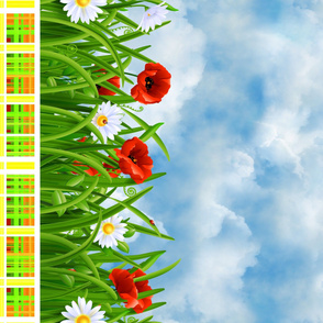 Poppies_and_Daisies_with_Grass_border_fabric_06