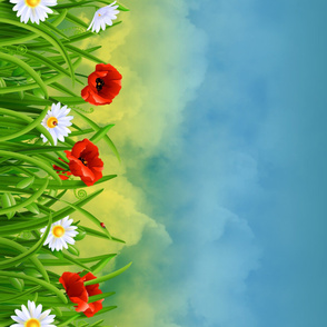 Poppies_and_Daisies_with_Grass_border_fabric_04