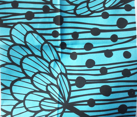 Flower border print blue