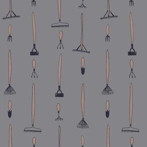 Garden tools - slate and mushroom