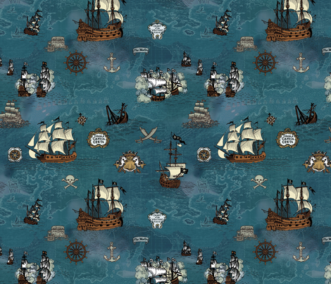 Pirate Ships Map Ocean Small Repeat
