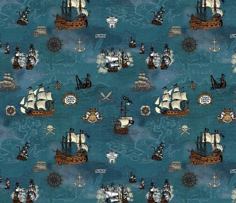 Pirate Ships Map Ocean Small Repeat
