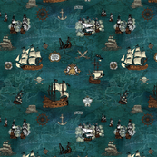 Pirate Ships Map Teal Repeat Small