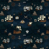 Pirate Ships Map Navy Small Repeat
