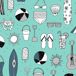 Beach - Pale Turquoise, Grey, Paynes Grey by Andrea Lauren